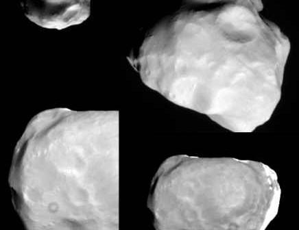 Złożenie kilku zdjęć, przedstawiające księżyc Helene credit: NASA / JPL / SSI / montage by Emily Lakdawalla