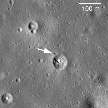Łuna 24 widoczna na powierzchni Ksieżyca, credit: NASA/GSFC/Arizona  State University