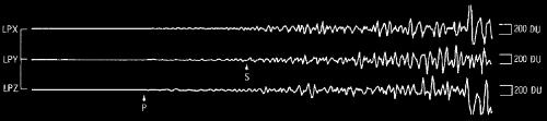 Zapis fal sejsmicznych powstałych w wyniku uderzenia Saturna IV-B w powierzchnię, credit: Ewing, M., et al., (1971), Seismology of the Moon and implications on internal structure, origin and evolution, in: De Jaeger (Eds.): Highlights of Astronomy, IAU, pp.155-172)