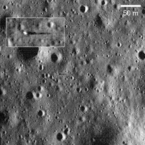Surveyor 6 na powierzchni regionu Sinus Medii credit: NASA/GSFC/Arizona State University