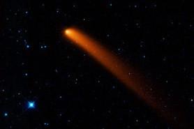Obraz komety uzyskany w zakresie podczerwieni przez teleskop WISE, credit: NASA/JPL-Caltech/UCLA