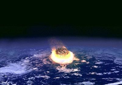 Duża planetoida uderza w Ziemię - wizja artystyczna / Credits -   NASA