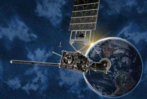 Wizja artystyczna GOES-P na orbicie, credit: Boeing