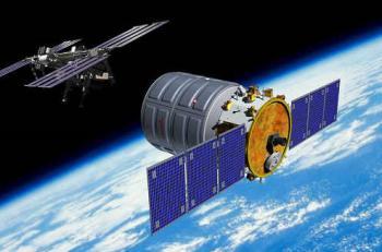 Statek trnsportowy Cygnus zbliża się do ISS / Credits - Orbital Sciences Corp.
