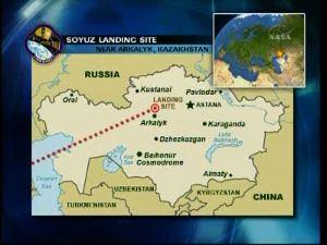 Miejsce lądowania Sojuza TMA-16 / Credits - NASA TV