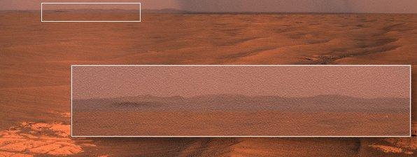 Fragment panoramy wykonanej podczas dnia Sol-2220. Na horyzoncie po prawej wyraźnie widoczne są zbocza krateru Endeavour. Credits: NASA/JPL/Damien Bouic/Krzysztof Kajda