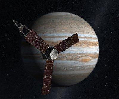 Wizja artystyczna sondy Juno w pobliżu Jowisza (NASA)