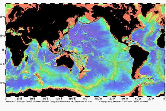 Pierwsza w historii topograficzna mapa oceanów wykonana przez   satelitę Geosat, (c) NOAA - domena publiczna