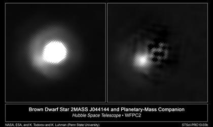 Układ 2M J044144 b okiem teleskopu Hubble / Credits - NASA, ESA, and K. Todorov and K. Luhman (Pennsylvania State)
