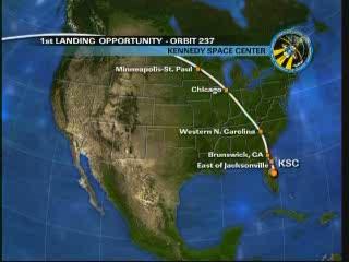 Pierwsza możliwa trajektoria powrotu promu Discovery / Credits - NASA TV