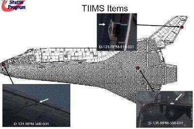 Zarejestrowane uszkodzenia osłony termicznej promu Discovery / Credits - NASA (Execute Package)