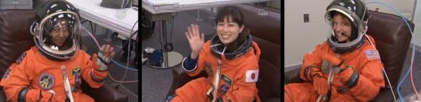 Przygotowania do startu - 3 kobiety misji STS-131, od lewej Wilson, Yamazaki i Metcalf-Lindenburger / Credits - NASA TV