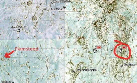 Mapka pokazująca planowane miejsce lądowania Apollo-13 w rejonie Fra Mauro (ostatecznie miejsce lądowania Apollo-14), oraz zapasowe miejsce lądowania w rejonie krateru Flamsteed (NASA/USGS/GoogleEarth)