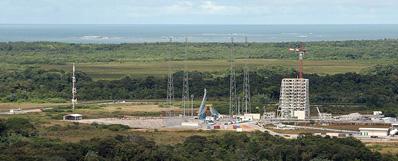 Widok na plac budowy stanowiska startowego Sojuzów na terenie  Gujańskiego Centrum Kosmicznego, Credits: Arianespace