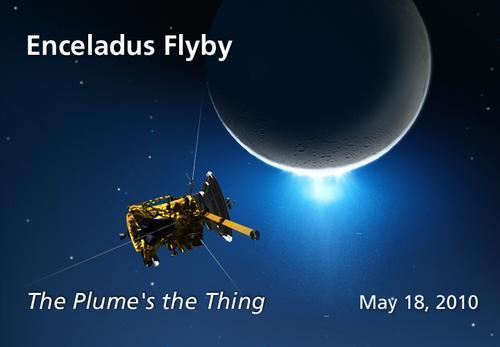 Okolicznościowa grafika ilustrująca obserwację wyrzutu przez sondę Cassini podczas zblżenia E10, (C) JPL - domena publiczna