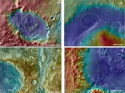 Mapy reliefowe 4 możliwych miejsc lądowania MSL Zgodnie z ruchem wskazówek zegara, od górnego lewego rogu: krater Eberswalde, krater Galer, Mawrth Vallis, i krater Holden, (c) NASA/JPL-Caltech