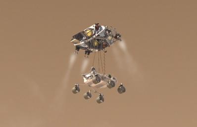 Wizualizacja opuszczania MSL z platformy, (C) NASA/JPL/Caltech