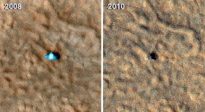 Zdjęcia Phoenix z 2008 i 2010 roku, wykonane przez sondę MRO, (c) NASA - domena publiczna