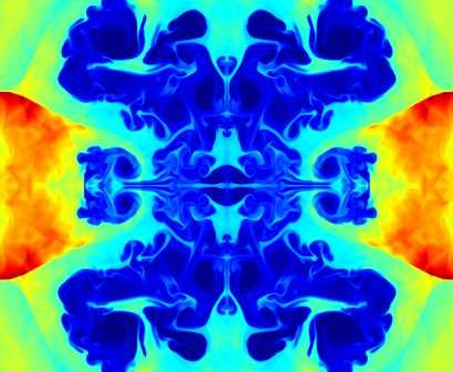 Kadr z dwuwymiarowej symulacji wykonanej algorytmami Athena3D. Kliknij, aby zobaczyć całość animacji (GIF; 18MB), Credits: James Stone, Thomas Gardiner, Peter Teuben, John Hawley, Jake Simon, licencja GFDL