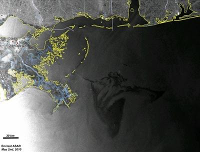 Wielka plama ropy na Zatoce Meksykańskiej widziana 'oczami' europejskiego satelity Envisat / Credits: ESA