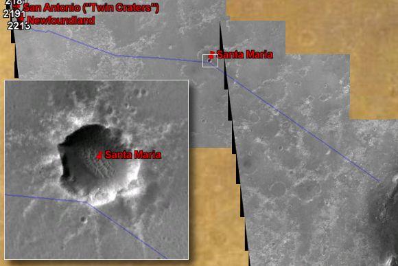 Wstępnie planowana przyszła trasa łazika Opportunity (kolor niebieski). W połowie drogi widoczny jest krater Santa Maria. (NASA/JPL/Eduardo Tesheiner/Google Earth)