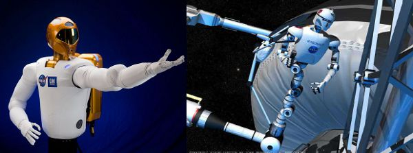 Po lewej Robonaut-2, po prawej wizja artystyczna przyszłej wersji robota wykonującego prace na zewnątrz stacji kosmicznej ISS (NASA)