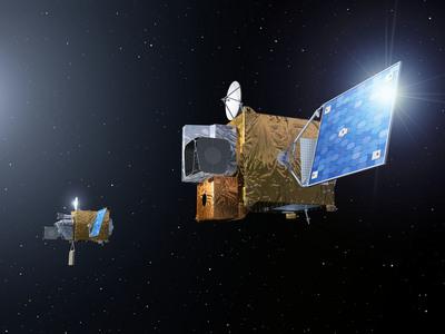Wizja artystyczna przedstawiająca satelity Third Generation Meteosat na orbicie, (c) EUMETSAT