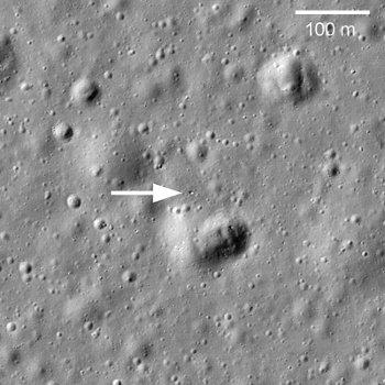Łunochod 1 na Księżycu obserwowany przez sondę LRO / Credits -  NASA, JPL, LRO