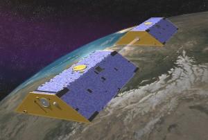 Wizja artystyczna obu statków GRACE na orbicie okołoziemskiej / Credit: NASA