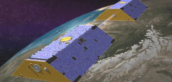 Wizja artystyczna obu statków GRACE na orbicie okołoziemskiej, (c) NASA