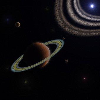 Niedokładny szkic Beta Pictoris b. W rzeczywistości pierścienie egzoplanety mogą być ciemniejsze i rozleglejsze. Pył krążący wokół gwiazdy również powinien być bardziej rozległy / Credits - K. Kanawka