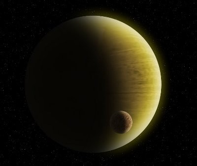 Gazowy gigant ze skalistym egzoksiężycem - przypuszczalny wygląd HD 1690 b / Credits - K. Kanawka