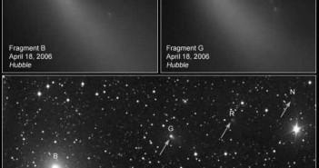 Rozpad komety 73P/Schwassmann-Wachmann 3 - czy i ona pochodzi spoza Układu Słonecznego? (NASA, ESA, H. Weaver, M. Jager, G. Rhemann)