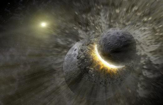 wizja artystyczna kolizji dwóch obiektów, w wyniku której powstała Ziemia oraz Księżyc (NASA)