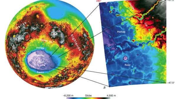 basen uderzeniowy Hellas na podstawie danych wysokościowych zebranych przez urządzenie MOLA (NASA)