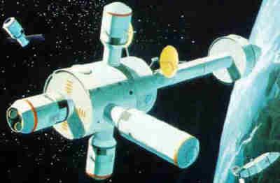 Stacja kosmiczna MDAC z dodatkowymi modułami AM oraz FFM (McDonnell-Douglas)
