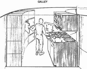 Szkic kuchni pokładowej (kambuza) w projekcie MDAC (McDonnell-Douglas)