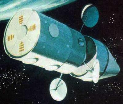 Wizja artystyczna stacji kosmicznej MDAC na orbicie Ziemi (McDonnell-Douglas)