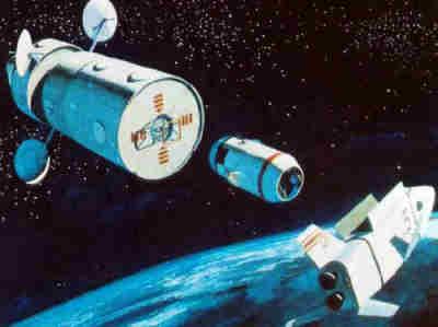 Wizja artystyczna pojazdu CCM manewrującego w kierunku tylnego węzła cumowniczego stacji kosmicznej MDAC (McDonnell-Douglas)