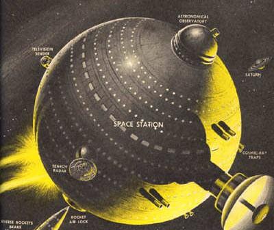Wizja artystyczna stacji kosmicznej o sferycznym kształcie (NASA)