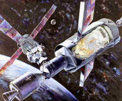 Wizja artystyczna stacji kosmicznych na orbicie Ziemi, wykorzystujących hardware programu Apollo (NASA)
