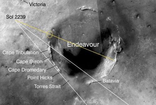 Zdjęcie rejonu z naniesioną pozycją łazika podczas dnia marsjańskiego Sol-2239 oraz nazwami formacji krateru Endeavour. Żółty kolor wskazuje położenie wzniesienia do którego kieruje się łazik. (NASA/JPL/roadtoendeavour.wordpress.com)