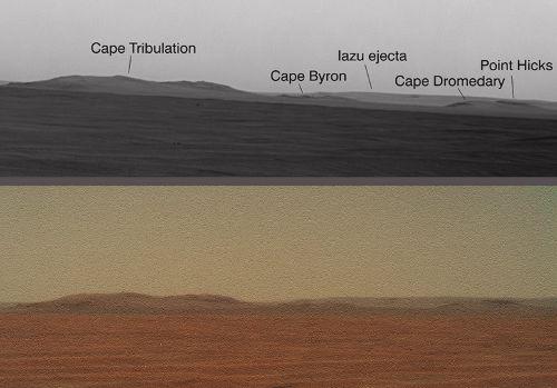 Porównanie jakościowe nowo opublikowanej panoramy oraz kompozycji zdjęć jpg (NASA/JPL/Ant)