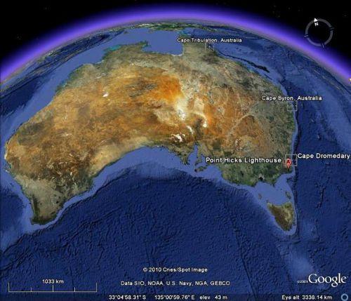 Nadane nazwy posiadają swoje ziemskie odpowiedniki związane z wyprawą Jamesa Cooka (Google/roadtoendeavour.wordpress.com)