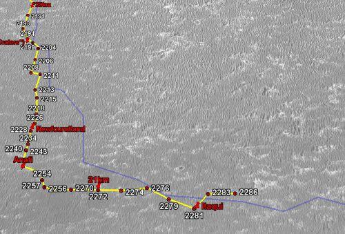 Położenie łazika podczas dnia marsjańskiego Sol-2286 (NASA/JPL/Google/Eduardo Tesheiner)