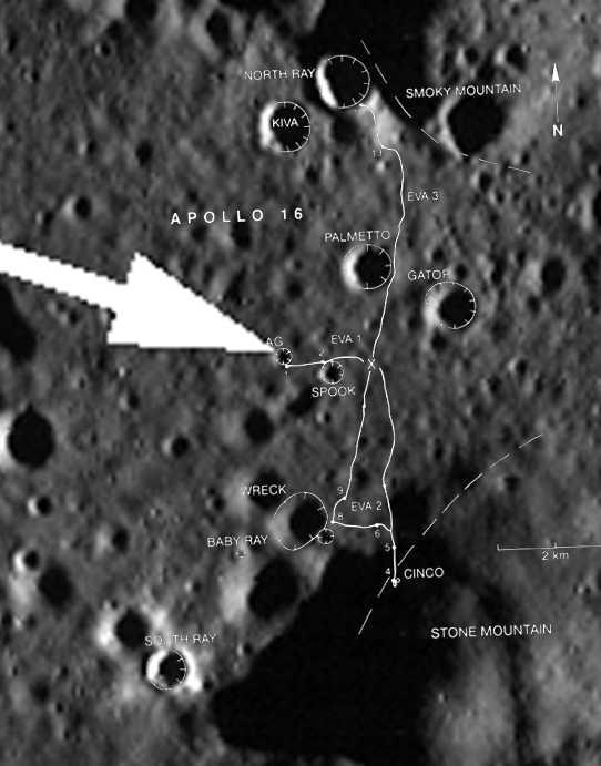 Obraz powierzchni z zaznaczonym rejonem lądowania i nałożonym diagramem pokazującym przebytą trasę na powierzchni (NASA)