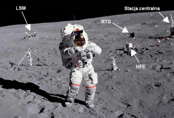 John Young na powierzchni Księżyca, w tle widoczne elementy pakietu ALSEP, a także urządzenie do wykonywania wierceń w gruncie - po prawej - oraz wiertła do niego - po lewej (NASA / SPD-SPFLT-Photo-as16 -114-18388)