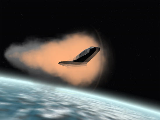 Prom kosmiczny wchodzi w ziemską atmosferę, otoczony przez plazmę (orbit.medphys.ucl.ac.uk/)