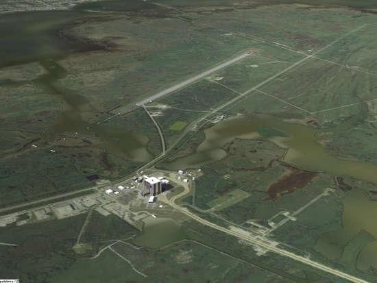 Okolice Kennedy Space Center widoczne w niewielkiej wysokości w symulatorze Orbiter (orbit.medphys.ucl.ac.uk/)