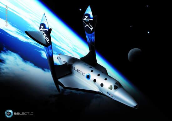 Artystyczna wizja SpaceShipTwo rozpoczynającego powrót do atmosfery / Credits - Virgin Galactic